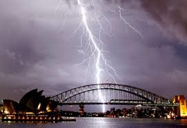 Lightning striking Sydney harbour bridge