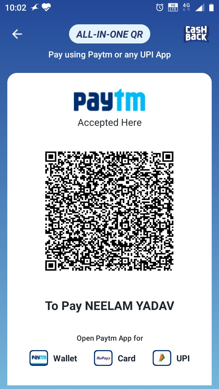 Paytm QR code for payment