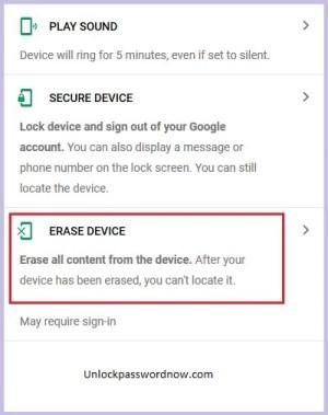 Infinix Phone mobile - Erase Option