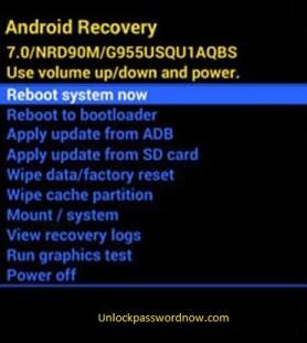 Samsung mobile Hard Reset - Reboot option