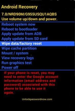 Samsung mobile Hard Reset - Wipe data option