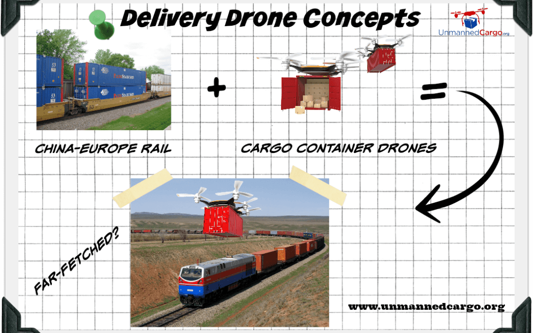 Delivery Drone Service Concepts – Lifting Railroad Freight Containers with Cargo Container Stacking Drones