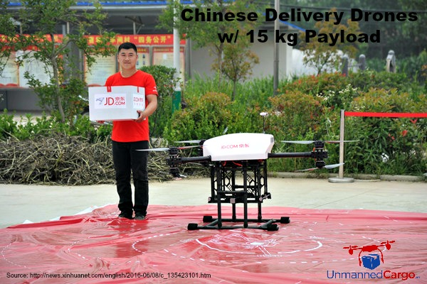 Chinese Delivery Drones with 15 kg Payload