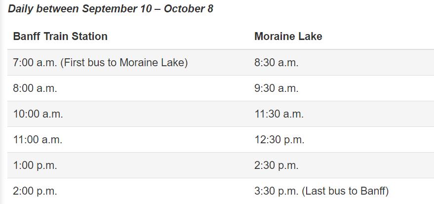 banff moraine lake bus