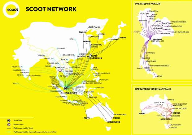 scoot airlines mapa de rutas