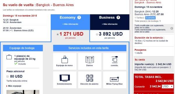 Vuelo Buenos Aires-Bangkok con Air France-KLM