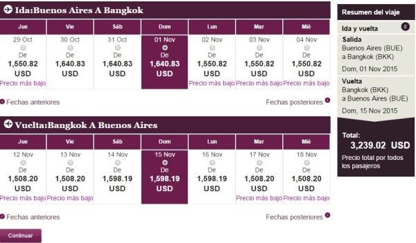 Vuelo Buenos Aires-Bangkok con Qatar Airways