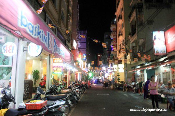 Callejón donde está el Gia Vien Hotel (de noche)