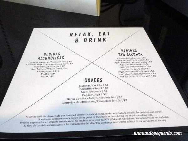 Carta minibar Dazzler Lima