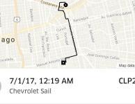 Trayecto de Uber en Chevrolet Sail