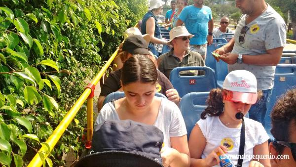 Turistas en la parte superior del bus