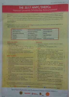 NNPC SNEPCo Undergraduate Scholarship 2017/2018 - Application procedure,Eligibility & Deadline