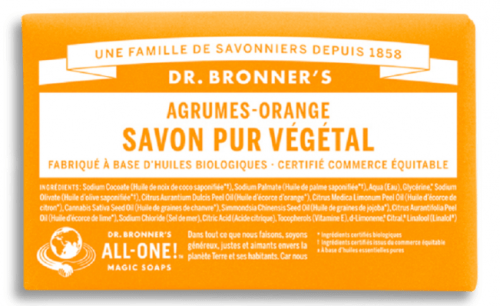 Savon solide naturel du Dr Bronner, affaire indispensable en voyage