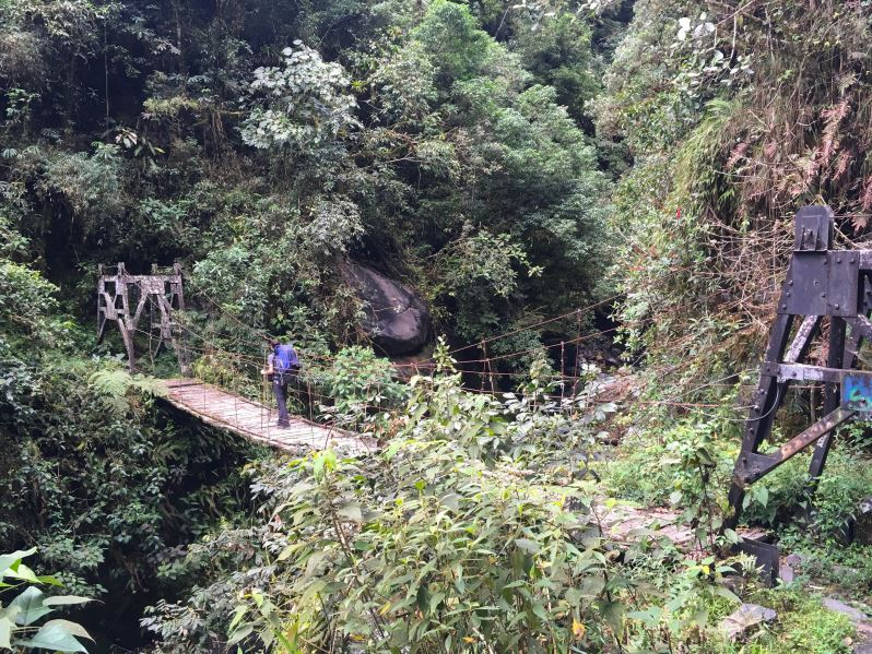 Pont suspendant dans la jungle pendant le trek El Choro en Bolivie