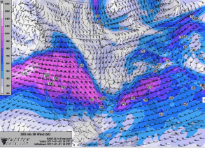 That jet stream will be strafing the Sierra tomorrow. Image via TwisterData.com