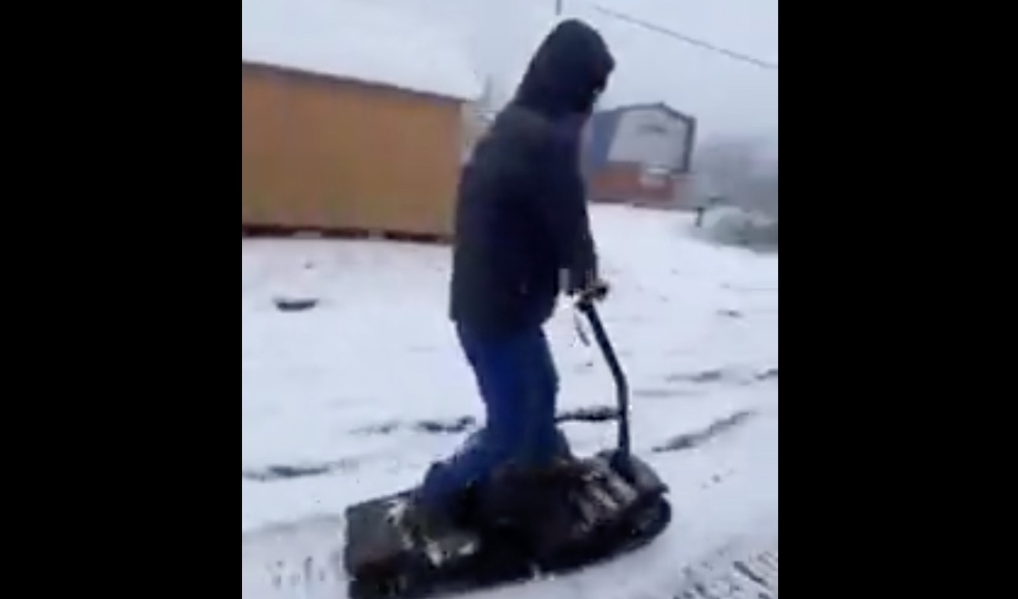 Homemade Snowmobile Test Drive Goes... Well, You'll See.