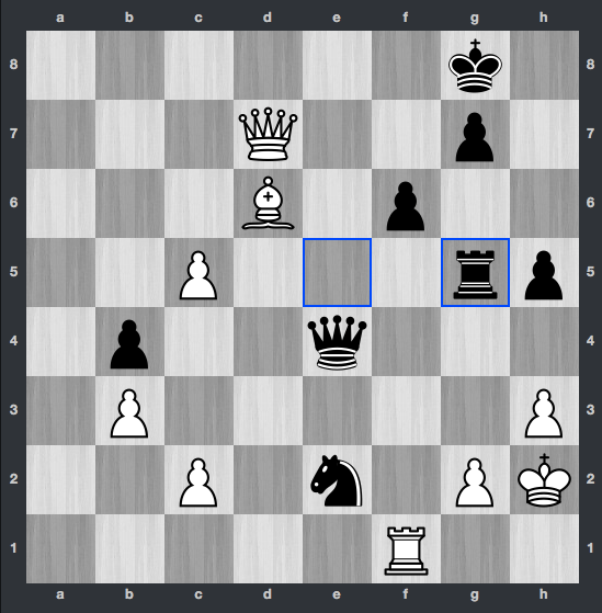 Carslen-Caruana dopo 44. ... Tg5