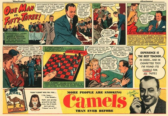 Scacchi nella pubblicita della Camels (1951)