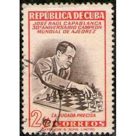 cuba-sello-usado-ajedrez-capablanca-ano-1951