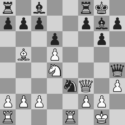 Deutsch-Carlsen dopo 13. ... Cxe3
