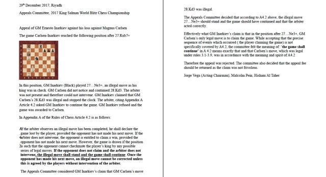 Carlsen-Inarkiev decision