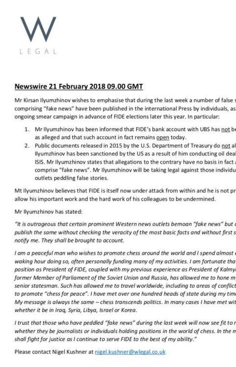 Dichiarazione di Ilyumzhinov 21 Feb 18