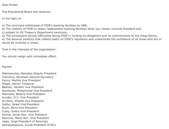 Pagine web FIDE - Minsk, invito a dimettersi