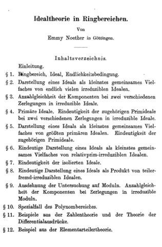 """Noether, Emmy (1921), """"Idealtheorie in Ringbereichen"""", Mathematische Annalen, 83 (1); 24–66"""