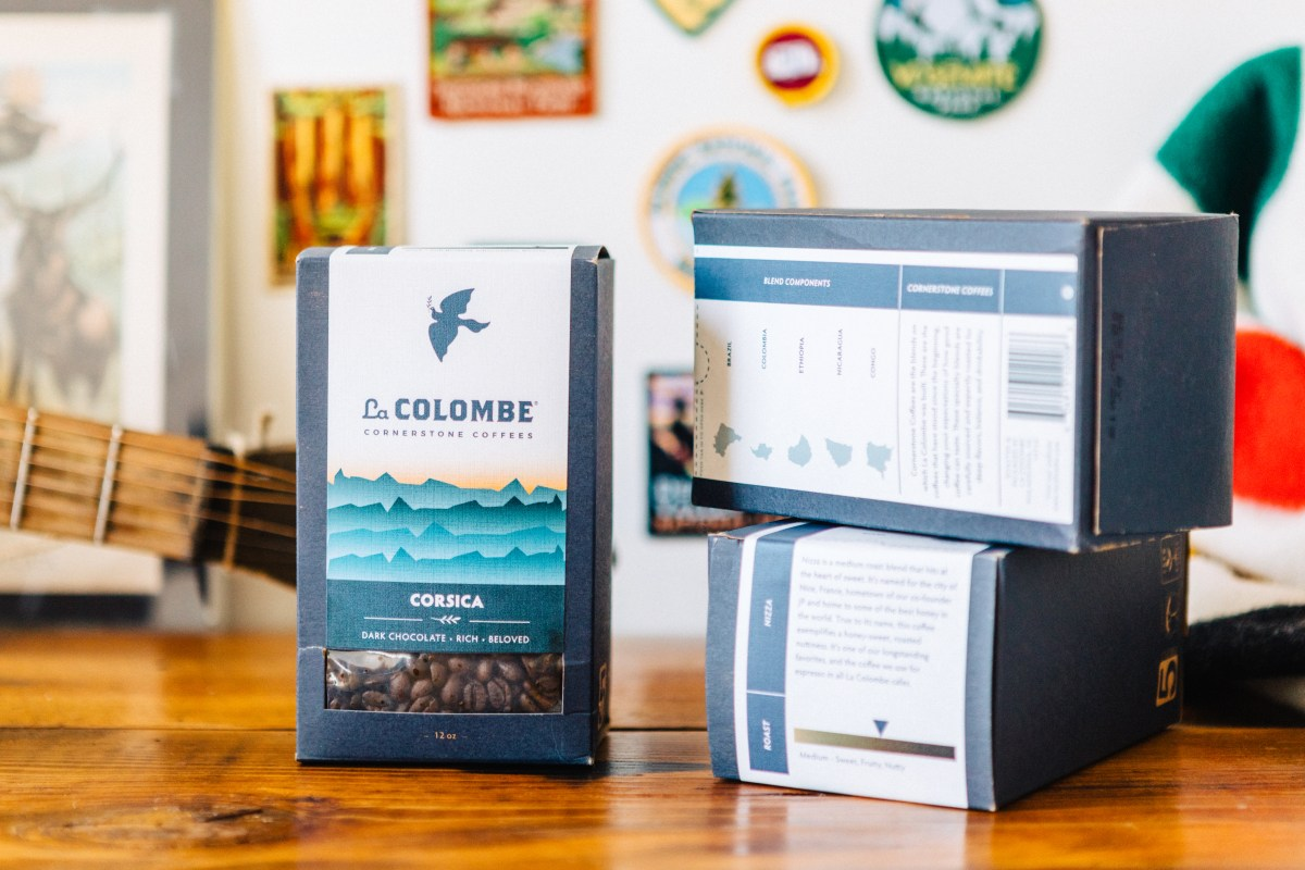 La Colombe Corsica, 3 stacked coffee packages