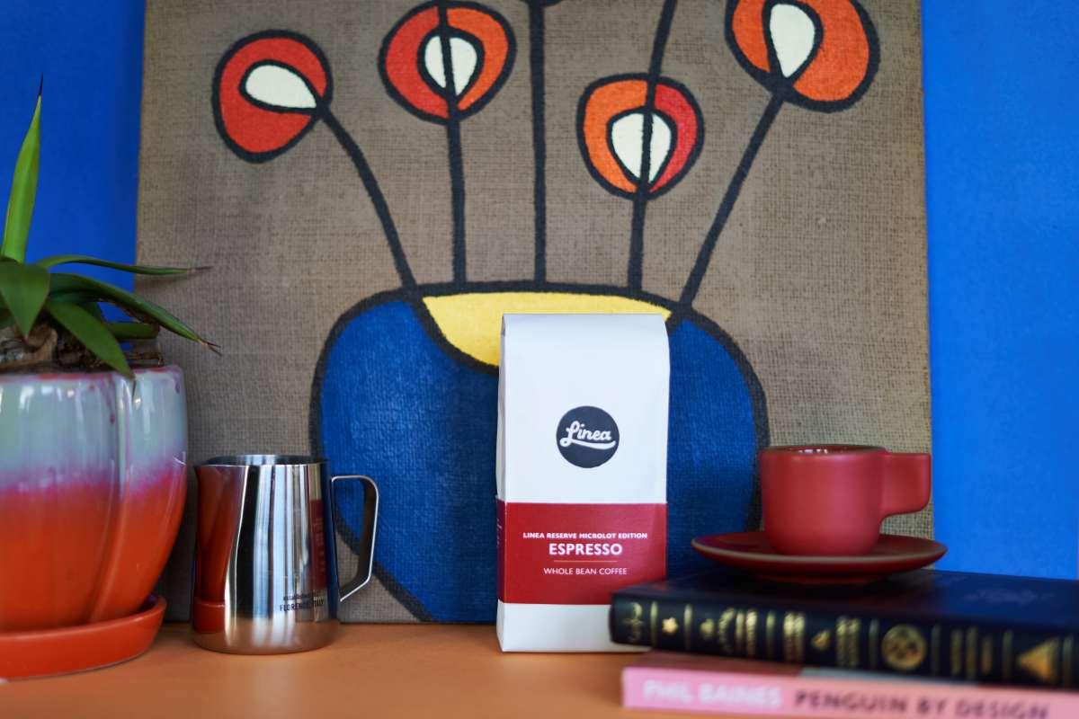 Linea bag among espresso and books