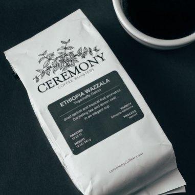 Ceremony Coffee Ethiopia Wazzala coffee on black background