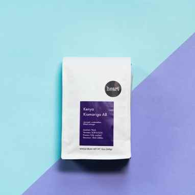 Heart Roasters Kenay Kiamariga AB coffee on blue and purple background