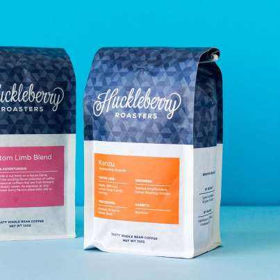 Huckleberry Roasters Kanu coffee on blue background
