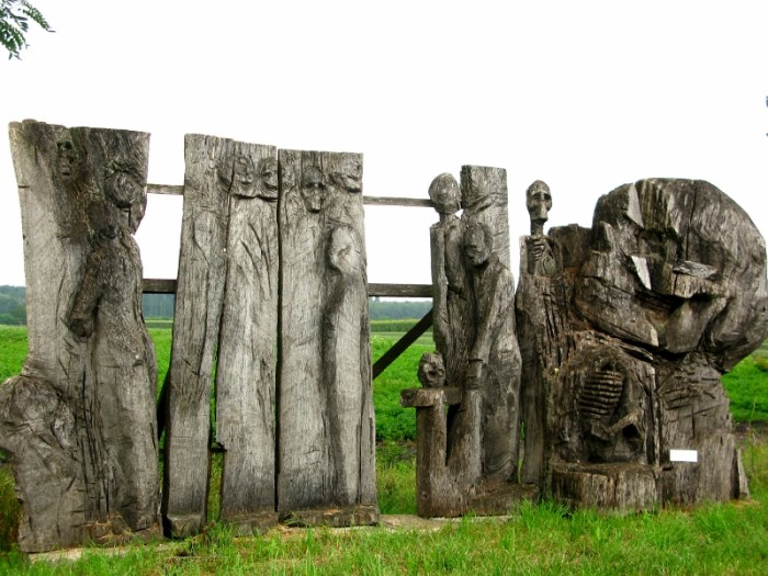 Sculptures along The Road of Woes at the Bridge at Andau