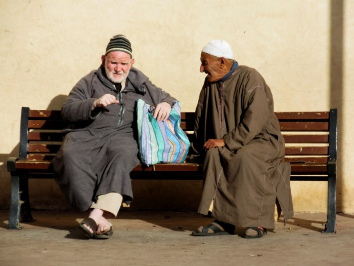 Moroccans chatting in Marrakesh