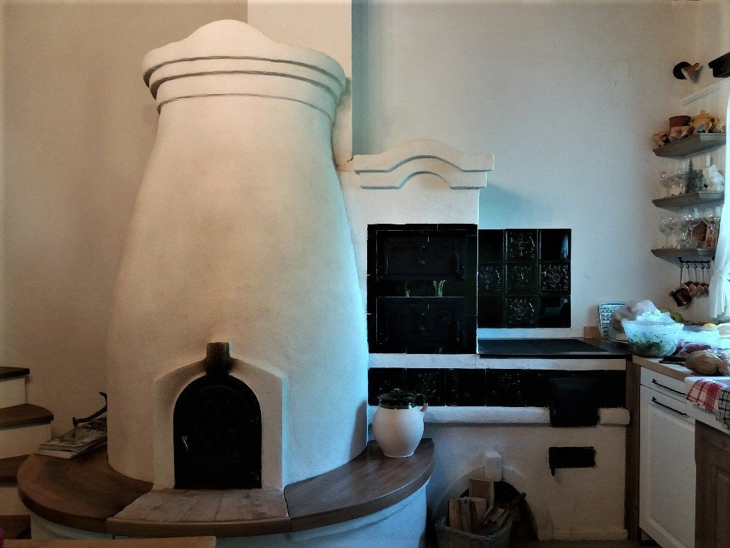 kitchen stove in a renovated wine cellar