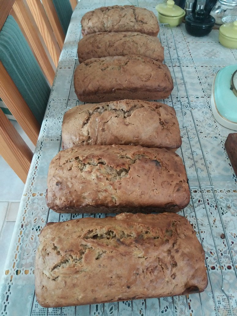loaves of zucchini and walnut bread