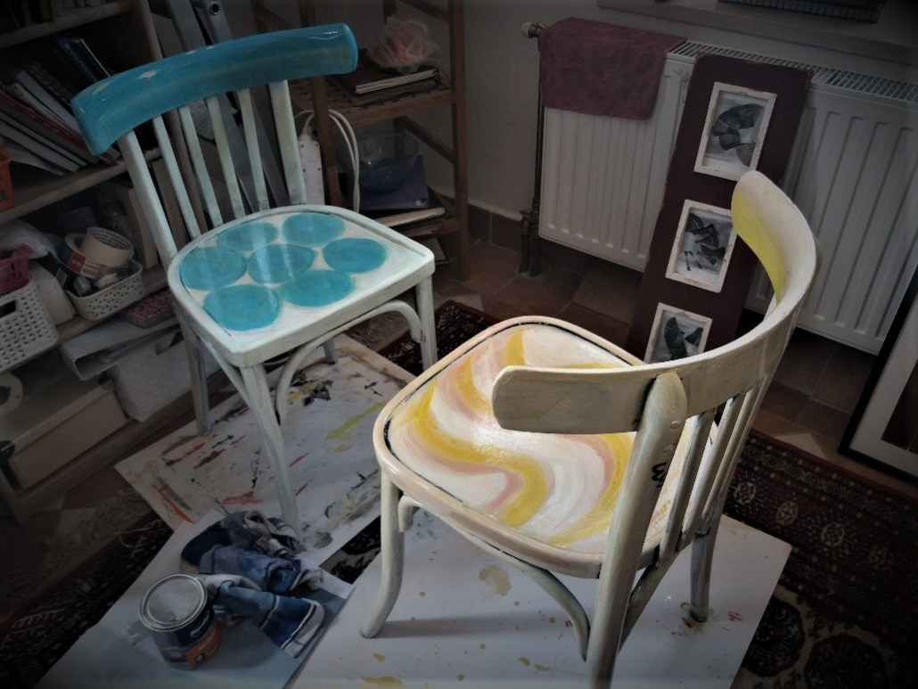 Chairs painted by artist Eva Gladys Thommen