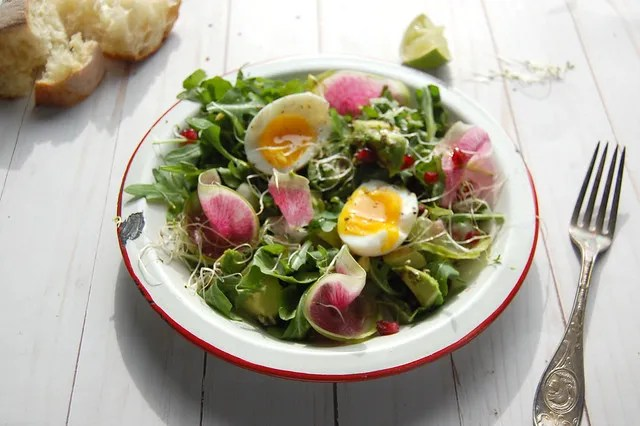 salad with watermelon radish and egg