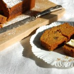 slice of pumpkin bread on china dish with tea