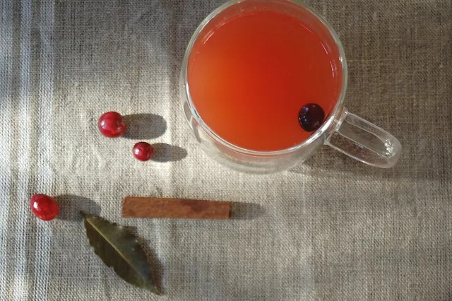 pink mulled apple cider with cranberry and cinnamon on linen