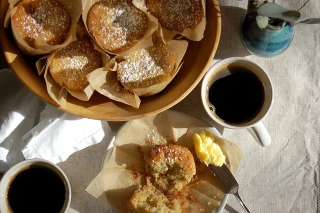 banana bread muffins in basket with coffee