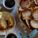banana bread basket with coffee and muffins
