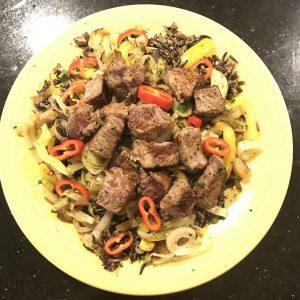 Steak with wild rice