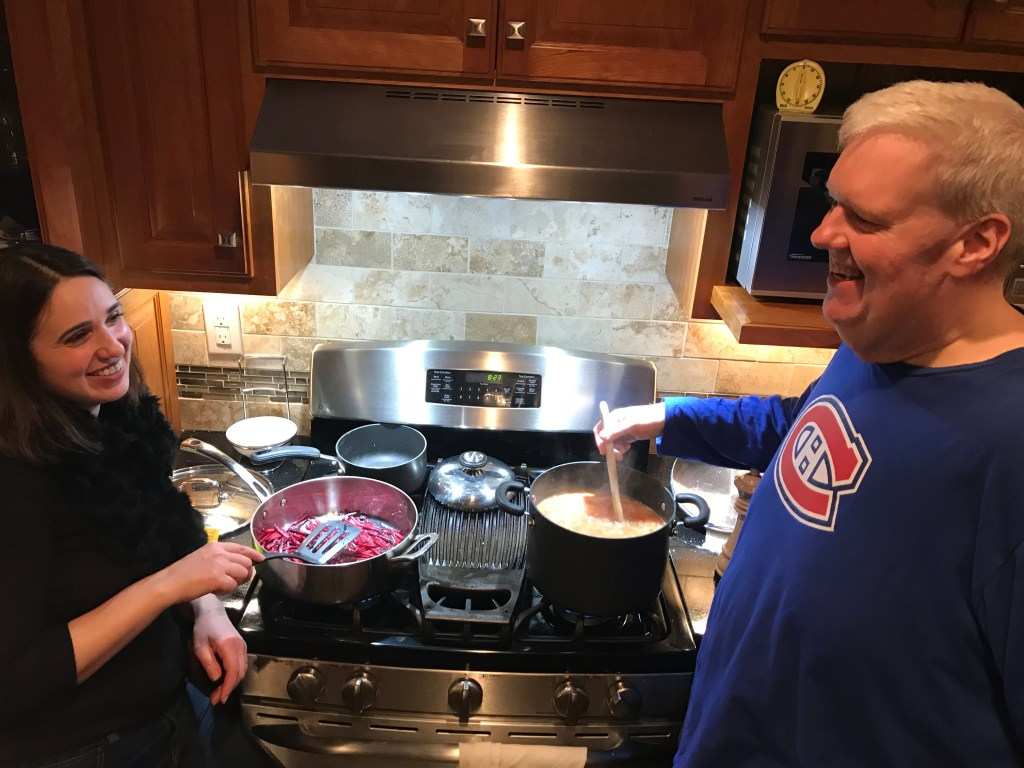 Olga and Ethan making borscht