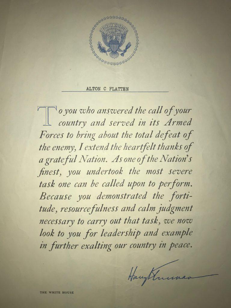 Truman letter