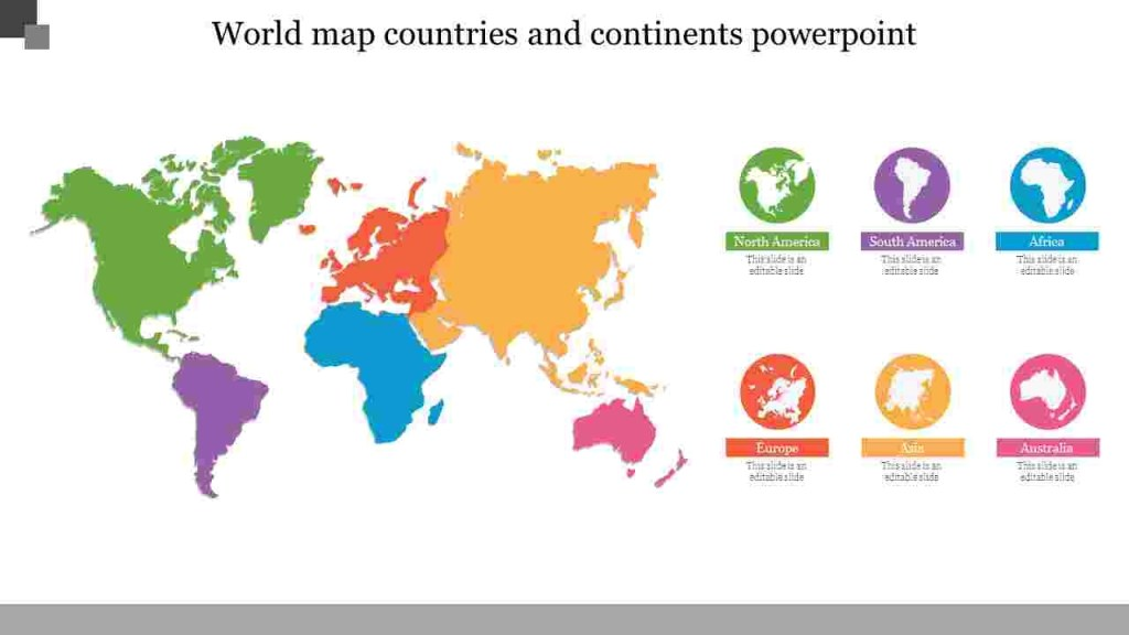 best printable map of continents and oceans powerpoint