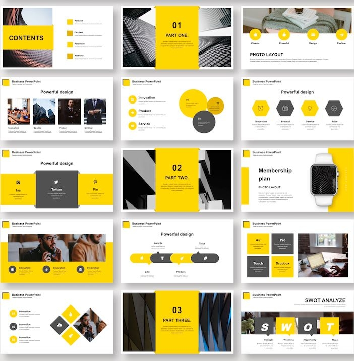 best yellow business presentation template original and