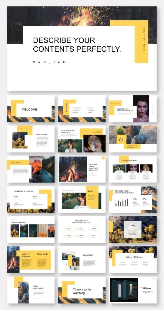 clean minimal yellow business presentation template
