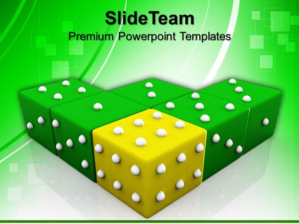 strategy game powerpoint templates yellow dice winning